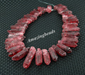 Approx 46pcs/strand Natural Wine Red Quartz Stick Points Pendant Jewelry,Rough Quartz Raw Crystals Top Drilled Spikes Necklace