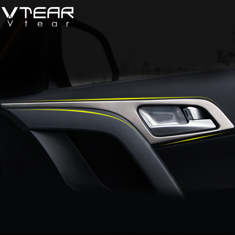 Vtear For Hyundai Creta ix25 stainless steel Interior door bowl decoration car door interior door panel trim accessories 2015-18 car door armrest window switch stickers decoration sequins control panel cover lhd for hyundai creta ix25 2015 2016 accessories