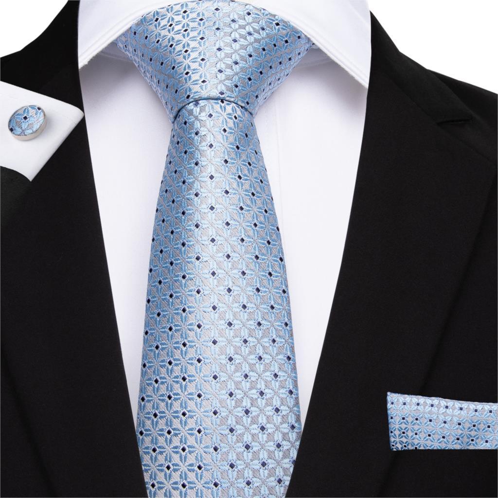 DiBanGu 2019 Famous Blue Floral Tie 100% Silk 160cm Necktie Hanky Cufflinks Tie For Men Business Wedding Party Tie Set MJ-7514