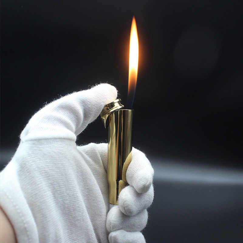 Креативная металлическая зажигалка с лазерным светом, Бутановая газовая ветрозащитная зажигалка с пламенем, новинка, гаджет, военная привыкание