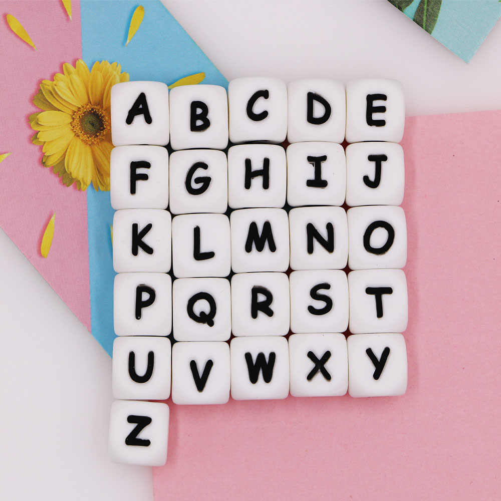 Kovict 12mm 1pc Letter Silicone Beads Chewing Alphabet Bead For Personalized Name DIY Teething Necklace