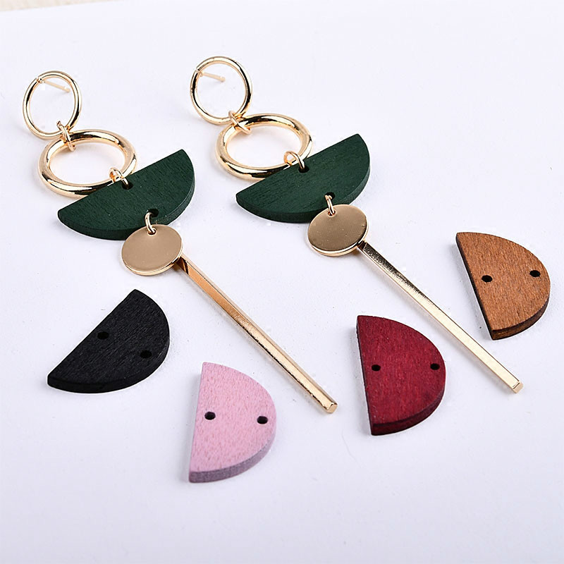 Simple Exaggerated Geometric Wood Round Semicircle Double Hole Earring Ear And Ear Accessories DIY Handmade Material