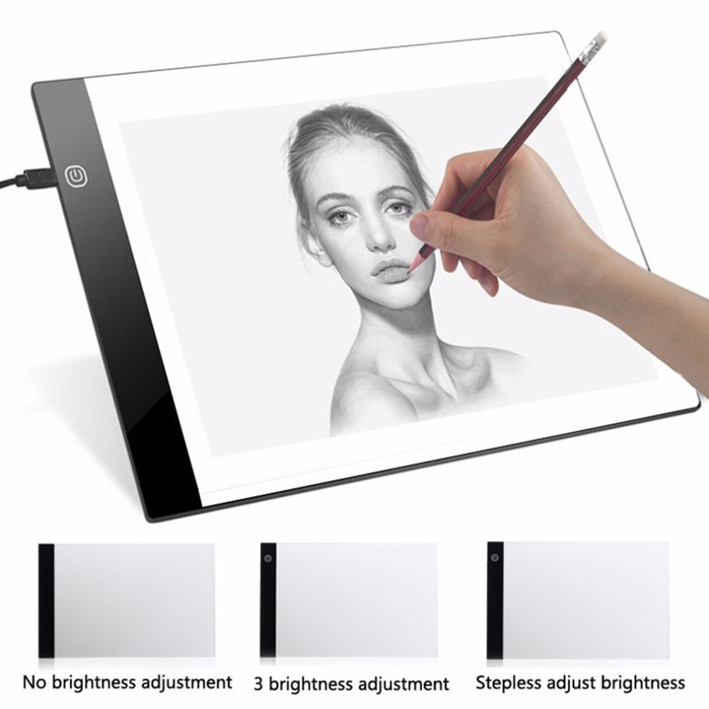 HA CONDOTTO LA Luce scatola di disegno tablet Arte Stencil Bordo Tracing Tavolo Da Disegno tableta grafica USB Alimentato A4 Copia Stazione