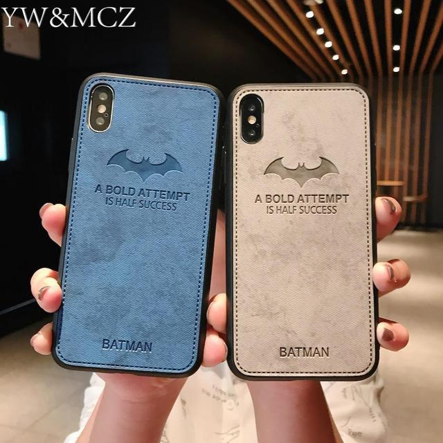 new concept 8da28 9aced US $1.99 |Embossed Batman Leather Phone Cases For Apple iPhone 7 8 plus 6  6s Women Pink Mobile Phone Cover For iPhone x xs max xr Case-in Fitted  Cases ...