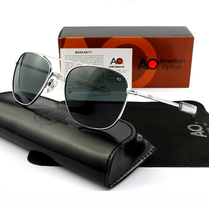 Lunettes de soleil pilotes hommes Top qualité marque Designer AO lunettes de soleil 55mm pour mâle armée américaine lentille en verre optique militaire QF555