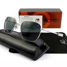 Piloto óculos de sol dos homens de qualidade superior designer marca ao óculos 55mm para masculino exército americano militar lente vidro óptico qf555