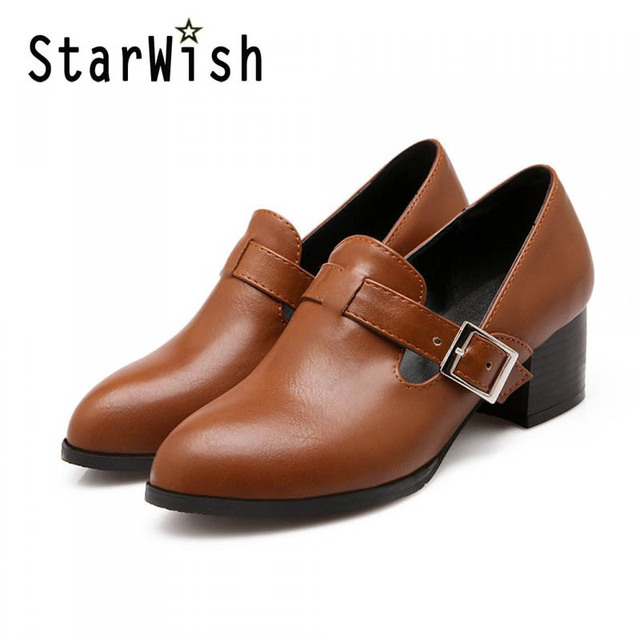STARWISH Fashion Pointed Toe Square Low Heeled Women's Shoes Vintage Pu Leather Women Pumps Ladies Casual High Heels Shoes 31-47