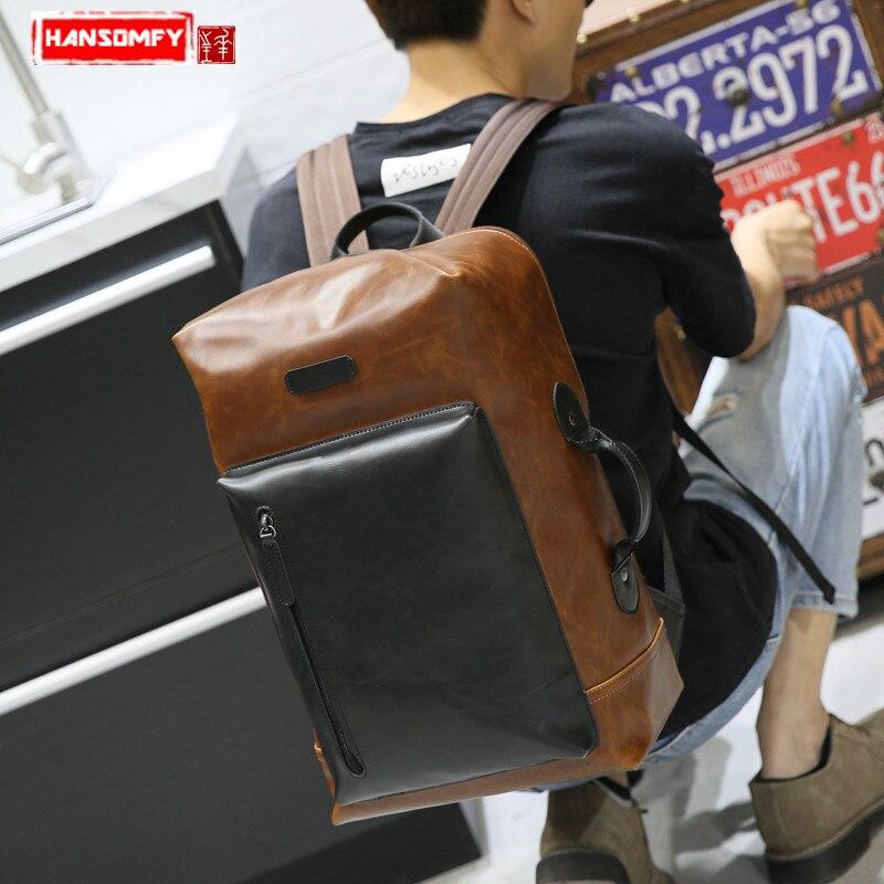 Genuine Leather men's crazy horse leather backpack Korean version of the trend shoulder bag retro travel Laptop bag men backpack hibo retro crazy horse leather shoulder bag men travel backpack men backpackers shoulder backpack tide pack