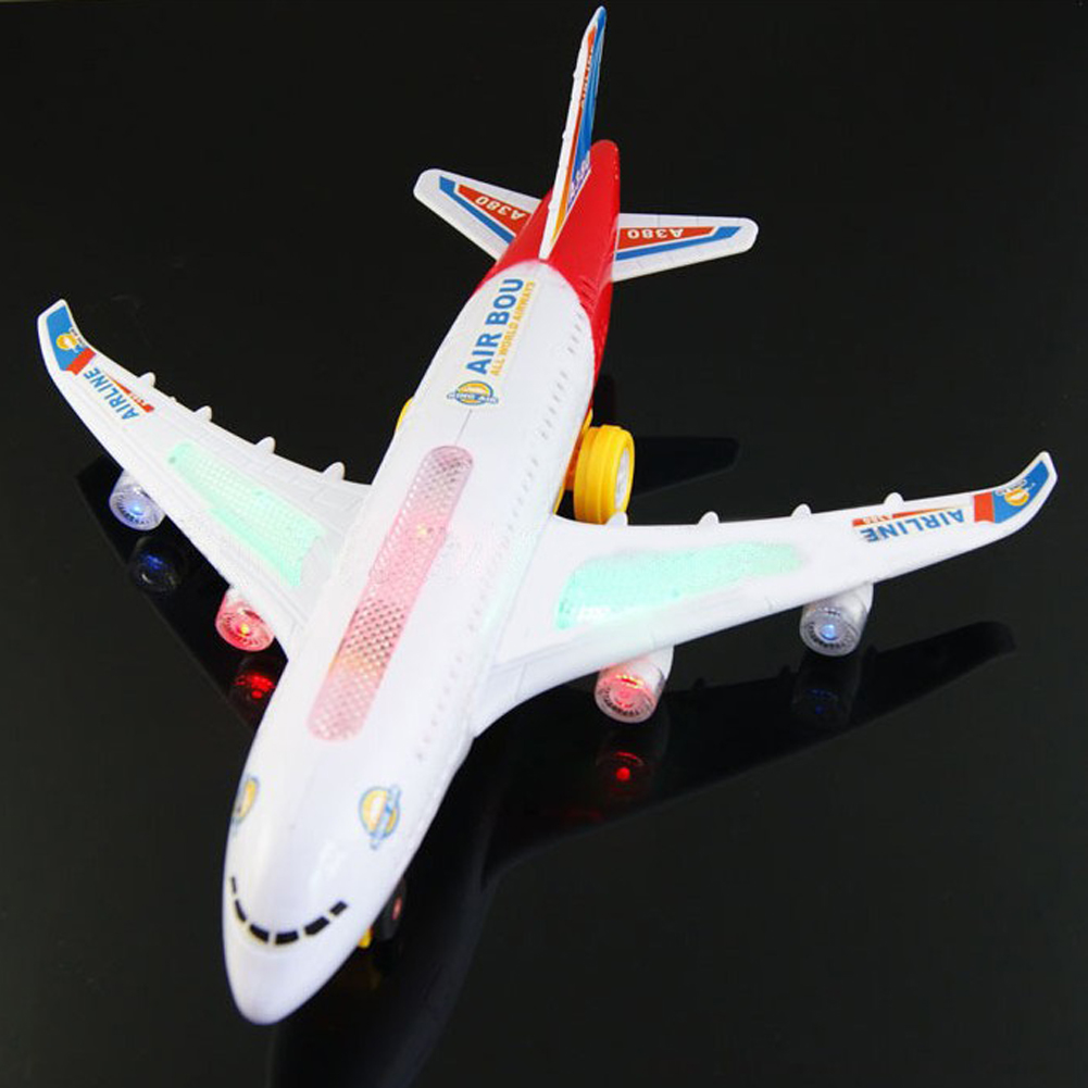 Electric Airplane Running Flashing Lights Music Airbus A380 Plane Model Baby Kids Toy Children DIY Aircraft Gift Learning Toys