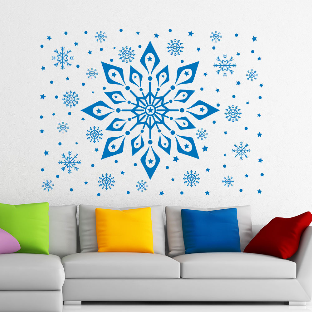 de navidad de arte de pared de vinilo patrn de copo de nieve congelada stiker