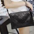 Genuine Leather Women Messenger Bag Rivet Zipper Small Crossbody Bag Women Vintage Clutch Bag Ladies Purse For Women Bag