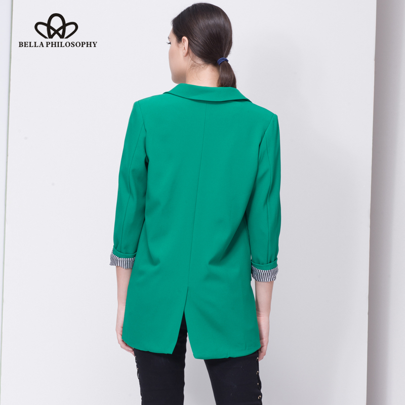 Bella Philosophy 2018 Spring women plus size long jacket double pockets long sleeve jacket coat S-XXXL outwears 3