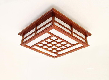 Modern LED Gömme Montaj Tavan Armatürleri Işık Japon Tavan Lambası Tatami Yatak Odası Katı Ahşap Tavan Lambası Maun Finish