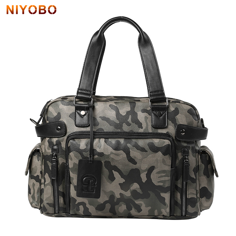 2017 New Arrival Men Messenger Bags pu leather Camo large capacity travel Bags man Waterproof Male Shoulder Bags Bolso PT1281