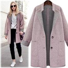 New 2018 Winter Woolen Women Coat Casual Turn-down Collar Slim Single Button Long Sections Wool Outerwear casaco feminino