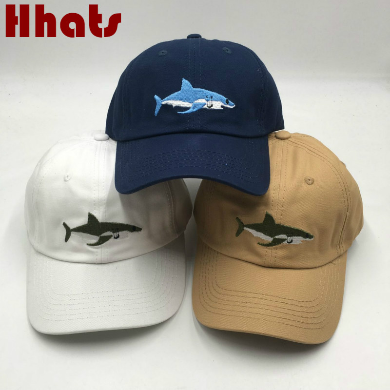 Fashion Snapback Shark Hat For Men Adjustable Cotton Embroidery Fish   Baseball     Cap   Outdoor Summer Women Dad Hat   Cap   Kpop Male Hat