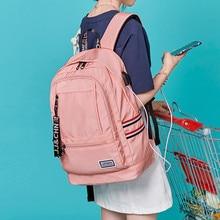 Kobiety zewnętrzny plecak z ładowarką usb plecak płócienny męski Mochila Escolar Girls plecak na laptopa plecak szkolny plecak dla nastolatków