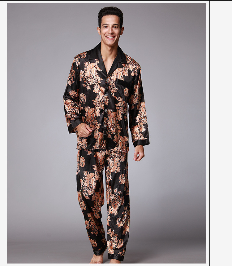 Mens Silk Satin Pajamas Pyjamas Set Sleepwear Set Loungewear  L XL XXL Fits All Seasons