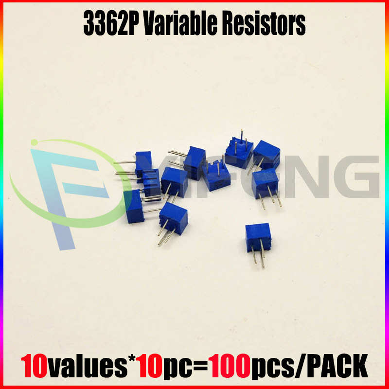 Trimpot Trimmer potentiometers Assorted Kit Single-Turn 3362P 100ohm-<font><b>1Mohm</b></font> ,variable <font><b>resistor</b></font> 10values*10pc=100pcs image