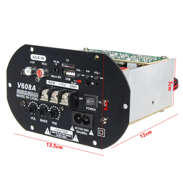 Best Price New 80W High Power Bass Car Subwoofer Hi-Fi Amplifier Board TF USB 12V/110V-220V Home Theater Amplifiers