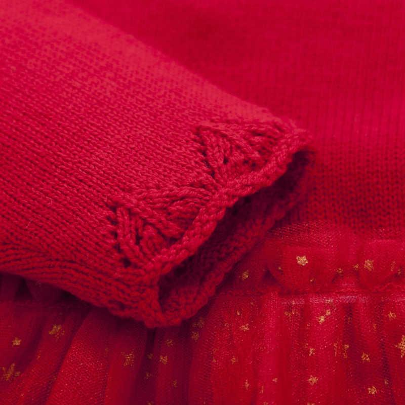 Balabala bebé niña Max-vestido de tela de punto fino suéter + tul con cierre en el hombro bebé recién nacido bebé vestido de tul