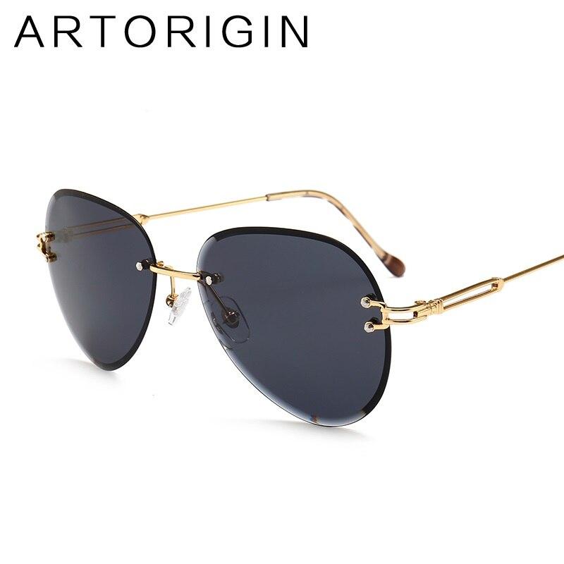 Fashion Rimless Sunglasses Women Pilot Style Gradient Tint Color Lens UV400 Sun Glasses Female Shades For 2018 Summer Sunnies
