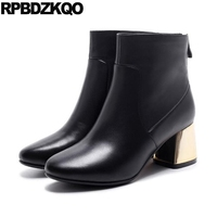 Fall European 2017 Short Booties High Quality Genuine Leather Black Heel Zipper Chunky Boots Designer Shoes