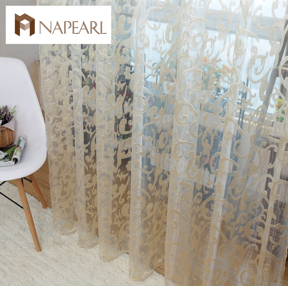 European Style Jacquard Leaf Design Tulle Fabrics Sheer Curtains For Balcony