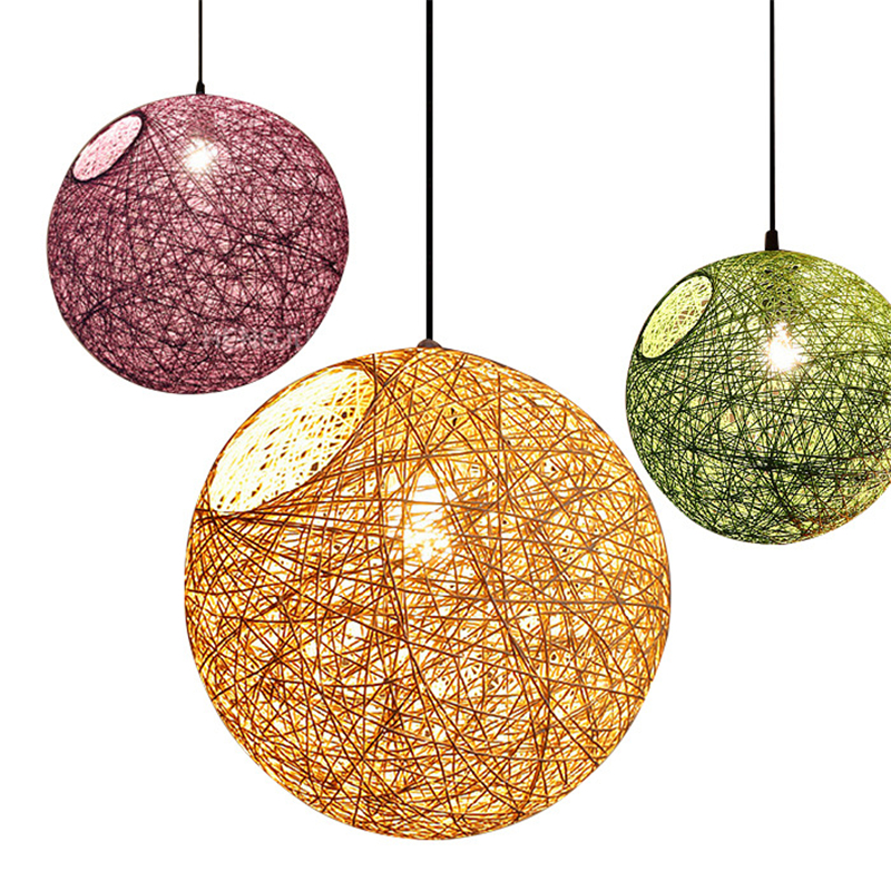 Creative Colorful Rattan lampshade Pendant Lights Retro E27 Spherical lantern Pendant Lamp for Dining Room Restaurant Coffee Bar