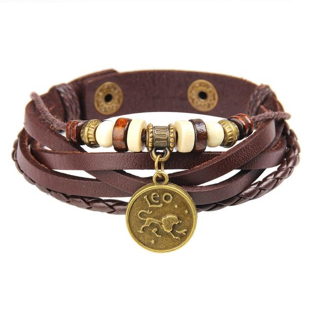 12 Constellation Zodiac Punk Leather Bracelet