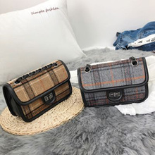 2019New trend ladies woolen bag Wild Messenger ins super fire chic chain plaid small square shoulder diagonal package