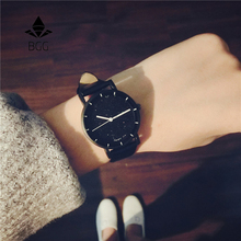 BGG Small fresh Compact mini simple wrist watches women's fashion star small dial quartz clcok for girls All-match leather watch