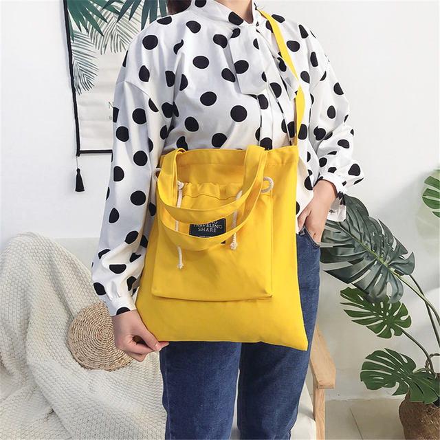 Creative Solid Color Yellow Red Handbag Durable Canvas Casual Cross Body Bags with Personalized Outside Drawstring Pocket Totes
