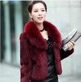 2016 mujeres del invierno de imitación de visón de piel de zorro del diseño corto de visón venta directa al por menor y venta al por mayor Faux Fur Jackets
