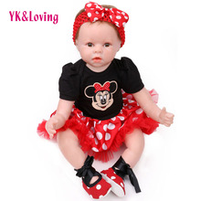 YK Loving Kawaii 55cm Silicone Smiling reborn babies Doll Accessories Handmade 3Pcs Dress Headband Shoes Kid