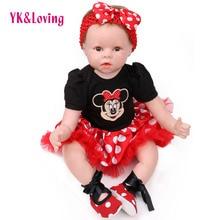 YK Loving Kawaii 55cm Silicone Smiling reborn babies Doll Accessories Handmade 3Pcs Dress Headband Shoes Kid