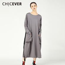 CHICEVER Spring Black Women Dress Long Sleeve Big Size O neck Pullovers Dresses Female Clothes Fashion Vestidos Casual 2018
