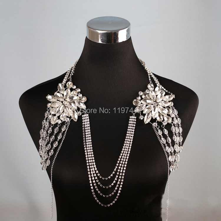Women Long Crystal Necklace boday Chain Bridal Shoulder Strap Bride Jewelry Wedding Accessories Chains Necklaces Vintage