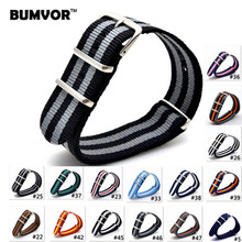 10PCS 2019 style Nato Strap Watchband Silver Buckle Army Military Nylon Watch Band Bracelet For Watch Bracelet 16 18 20 22 24 MM
