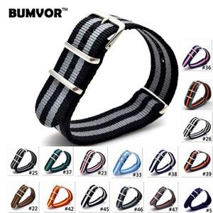 Image 1 - 10PCS 2019 style Nato Strap Watchband Silver Buckle Army Military Nylon Watch Band Bracelet For Watch Bracelet 16 18 20 22 24 MM