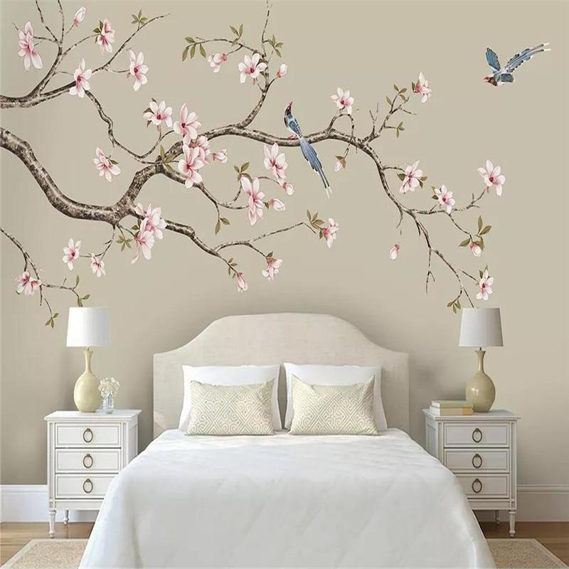 Papel de parede mural personalização decorativos de parede Magnólia Chinês mão-pintado flores e pássaros canetas flores e pássaros fundo