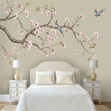 Wallpaper mural customization decorative wall Magnolia Chinese hand-painted flowers and birds pens background
