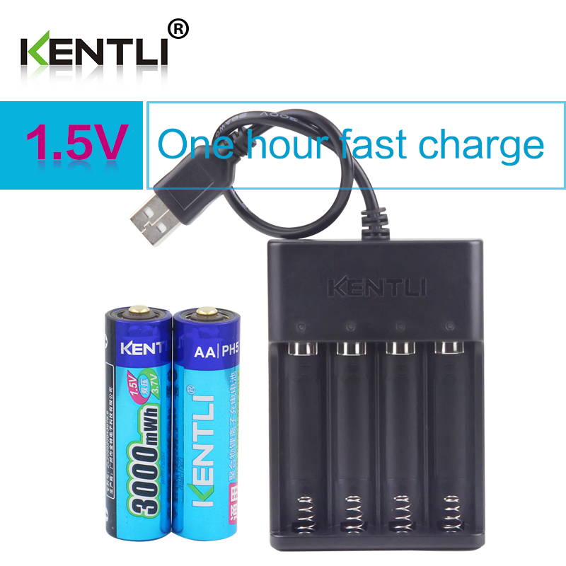 KENTLI 2pcs AA 1.5V 3000mWh lithium li-ion rechargeable batteries battery + 4 slots polymer li-ion battery charger 12 new etinesan 3000mwh 1 5v aa lithium li polymer rechargeable battery 1 5v aa aaa li ion batteries charger free shipping