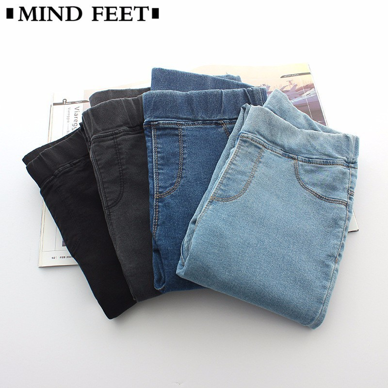 MIND FEET New Spring Women Slim   Jeans   Skinny Ankle-length Jeggings Elastic Waist   Jeans   Woman Leggings Casual Denim Pencil Pants