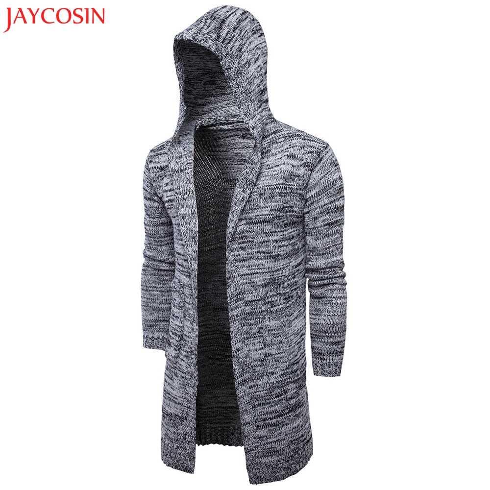 JAYCOSIN мужское осенне-зимнее, зауженное трикотажное пальто с капюшоном, модный кардиган, длинный плащ, куртка с длинными рукавами черного и серого цвета z1031