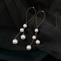 Корейская звезда тот же пункт модная жемчужина из сплава серьги с кисточками элегантные ювелирные изделия серьги женские длинные секции ви...