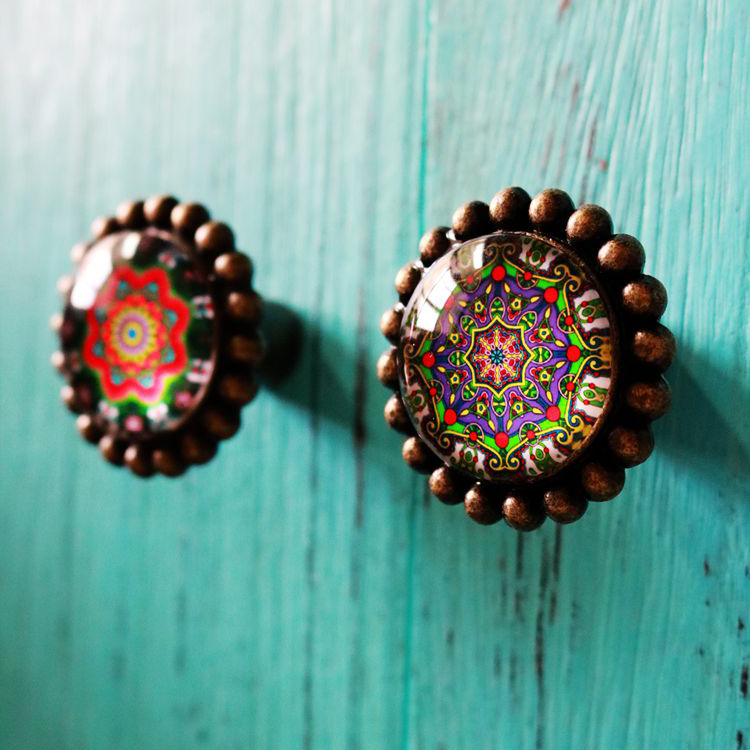 1x 42mm Vintage bronze drawer shoe cabinet knobs pulls Colorful glass crystal kitchen cabinet cupboard door handles 1x retro stamp painted crystal glass door knobs kitchen cabinet handle drawer wardrobe cupboard dresser pulls