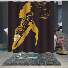 New Bathroom Curtain Nature Waterproof Polyester Fabric Fashion Girl African Woman Simple Shower Customizable