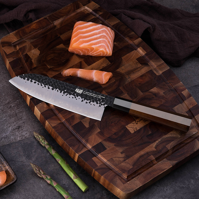 Купить с кэшбэком FINDKING 4 pcs Clad Steel Japanese Professional Octagonal Handle Kitchen Knife Nakiri Santoku Utility Knives