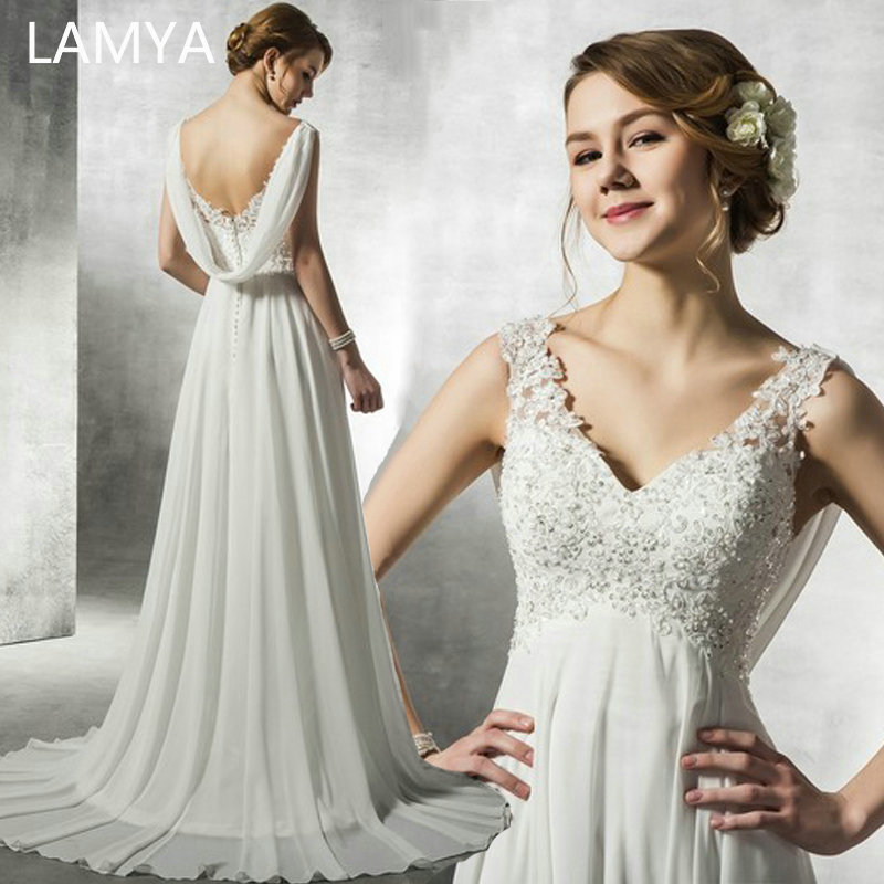 LAMYA White Chiffon Backless Wedding Dresses 2019 Customized Beach Bridal Gown Elegant Sinple Lace Appliques Vestido De Noiva